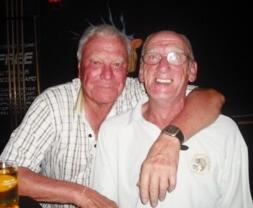 Friday's winner Reg Smart, left, celebrates with Colin Stokes.