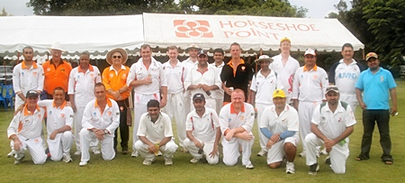 Pattaya Cricket Club players line up before the match against Singapore Spirits at Horseshoe Point, Saturday, May 14.