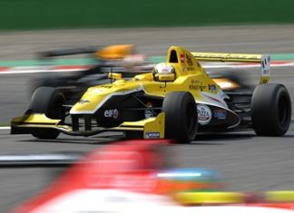 Sandy Stuvik races his Formula Renault car at the Spa Francorchamps circuit in Belgium, Sunday, May 1.