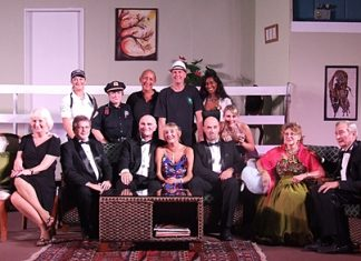 "The Pattaya Players cast for their production of Neil Simon's play ""Rumors"" pose for a group photo."
