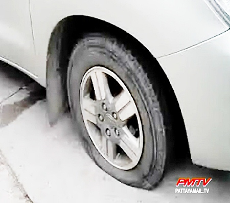 Despite the tire that was shot by police the driver tried to escape.