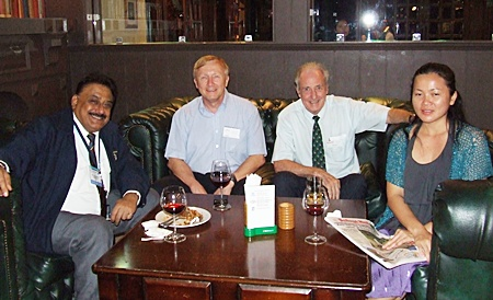 Far from the madding crowd: (l-r) Peter Malhotra (Pattaya Mail), Bruce Hoppe (VP Asia Operations Emerson Electric), Dr. Iain and Som Corness.