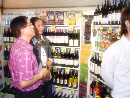 A huge selection of wines was on display for purchase.