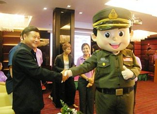 "Chonburi Immigration's ""Yim Yim"" (smile) mascot is introduced at the opening ceremony for Immigration's new service minded campaign."