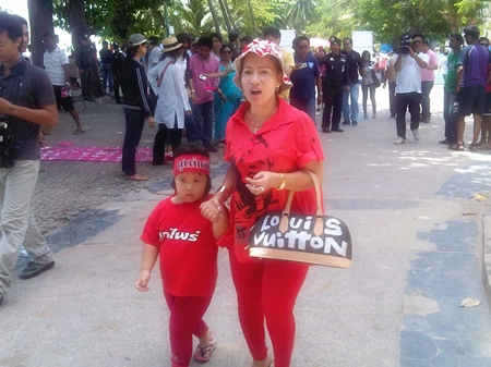 One publicity seeking red shirt protestor and her innocent granddaughter were turned away.