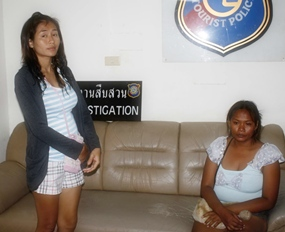 Panthippa Kampan (left) and Jiraporn Sa-ngob (right) have been arrested for allegedly pimping out Jiraporn's 14-year-old daughter.