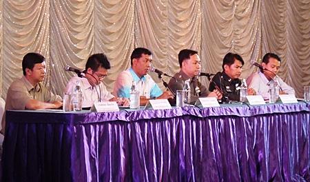 (L to R) Tatpol Iam-ngam, deputy district chief, Security Division; Noraset Sritapatso, senior deputy district chief of Banglamung; Chaowalit Saeng-Uthai, Banglamung district chief; Pol. Col. Nanthawut Suwanla-Ong, superintendent of Pattaya Police; Pol. Lt. Col. Kritsakorn Thong-In, deputy superintendent of Pattaya Police, Crime Suppression; and Bandit Siritanyong, Pattaya Entrepreneurs club president lay down the law with entertainment entrepreneurs.