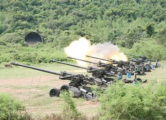 The Thai Navy tests a new weapons-targeting system, firing artillery rounds towards Koh Rin.