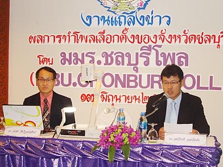 Dr. Wanchai Jungwiboonsatit and Dr. Somkiat Jongjitman announce the survey results.