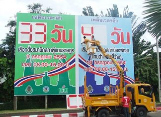 Pattaya has installed signboards throughout the area to count down days until the national election on July 3 and the local election on July 10.