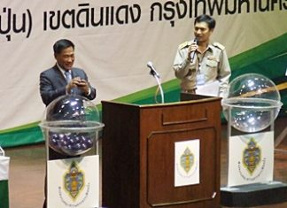 Apichat Sukakkanon, chairman of the Election Commission, presides over the random drawing to determine where each political party will be listed on the July 3 ballot.
