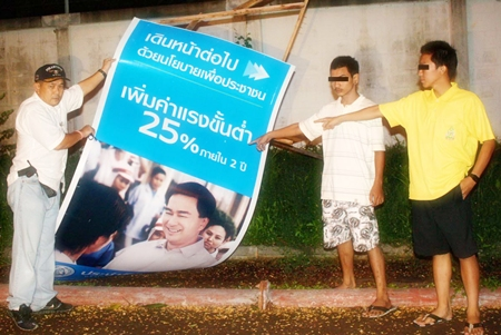 Teenage boys were caught destroying Democrat Party campaign posters in Sattahip.