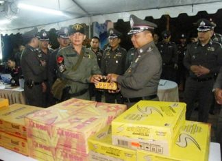 Royal Thai Police Commander-in-Chief Gen. Wichian Potphosri presents energy drinks to officers on duty.