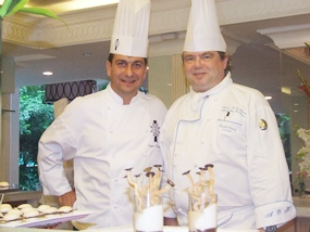 Fabrice Danniel (left), the executive master chef from Le Cordon Bleu Dusit Culinary School in Bangkok, and the Dusit's executive chef Adrian O'Herlihy (right) create pastry masterpieces.