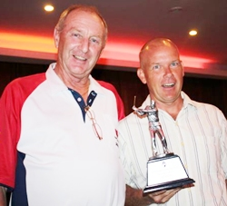 Low gross winner Jack Grinvold, right, with Lewiinski's Golf Manager Colin.