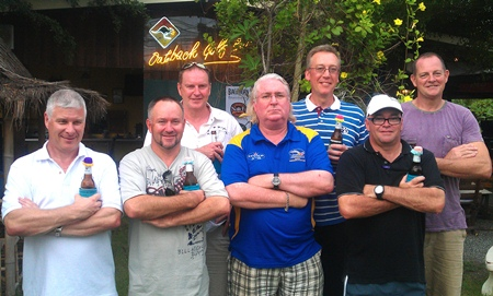 Dave Barwick, front right, and his mates from Down-under pose for a photo at Burapha.
