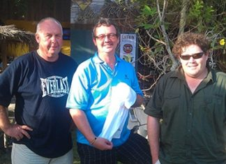 Friday winners: (from right) Robert Ford, Graham (the fish) Fletcher, and Clinton Kimber.