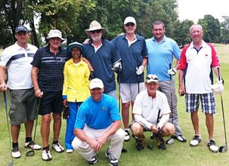 The great group of golfers who went on the tour of Korat pose for a photo.