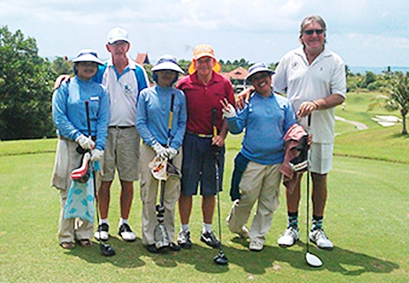 B1, Stuart Thompson and Rosco Langoulant line up with their caddies on the Seaview golf course, Friday, June 3.