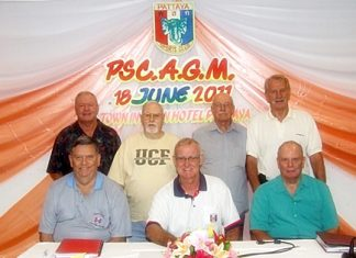 The 2011-12 PSC Committee members: Standing (L-R) Joe Mooneyham (Golf), Paul Donahue (Secretary), Nigel Cannon (Social), William Macey (Charity); Seated (L-R) Bobby Clark (Vice President), Tony Oakes (President) and Bob Lindberg (Treasurer).
