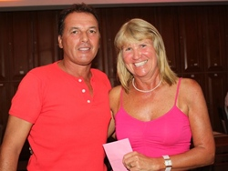 Sunday's winners: Thierry Petrement, left, and Kathy Doody.