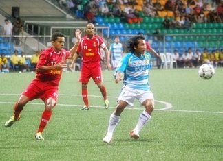 Pattaya United take on Okkthar United at the Beza Stadium in Singapore, Wednesday, June 15. (Photo/Ariyawat Nuamsawat)