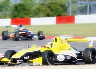 Sandy Stuvik, foreground, drives his Formula Renault car at the Nürburgring in Germany, Saturday, June 18.