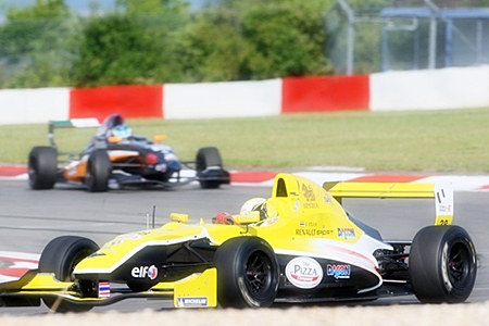 Sandy Stuvik, foreground, drives his Formula Renault car at the Nürburgring in Germany, Saturday, June 18.