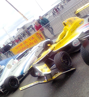 Stuvik's car, with damaged nose cone and front wing assembly, is parked up following race day 2 on Sunday.