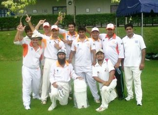 The Pattaya Cricket Club team celebrate their victory in the Southerners T20 tournament.