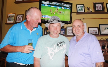 (L to R) Bob Newell, Gabriel Enright and Dale Shier after the golf on Wednesday and watching the State of Origin rugby match on TV.