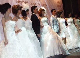 Some of the fabulous wedding dresses on show at the fair.