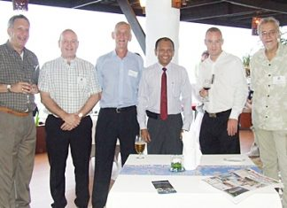 Familiar smiles at BCCT networking events, (l-r) Alan S. Verstein, Graham Macdonald, Jerry N. Stewart, Ranjith Chandrasiri, Jonas Moberg and Chris Thatcher.
