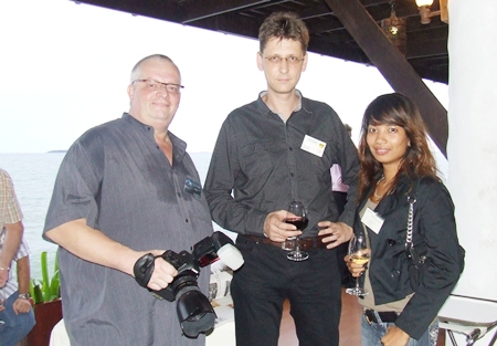 Size does matter, the camera that is; (l-r) Peter Kraemer, Rainer Roessler and Anchalie Roiphet.