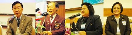 (l-r) DG Thirayud Wathanathirawut (2011-12), DG Thongchai Lortrakanon (2010-11), PP Alvi Sinthuvanik and PP Onannong Chairperson of the YE program District 3340 perform their duties during the final day's program.