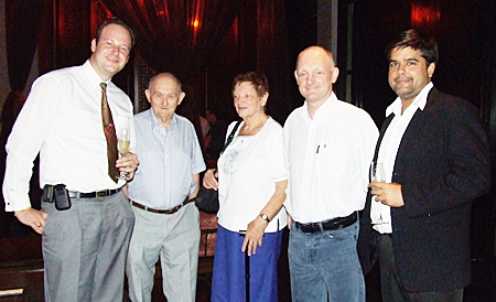 Max Sieracki (left) welcomes Jan Van Houtven (2nd right) together with his parents Frans and Simone Van Houtven. At right is Tony Malhotra Asst. MD of the Pattaya Mail Media Group.