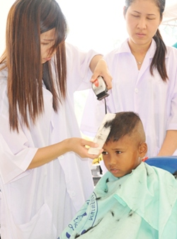 Jutamat Beauty School students donate their time and skills to style new hair fashions for all the Mercy Family.