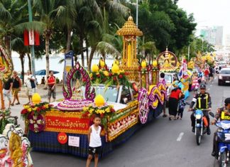 To wrap up yesterday's annual Buddhist Lent candle parade down Beach Road, today, July 15 at 9 a.m., city officials and staff, students and residents will gather at Wat Nong Or in Central Pattaya for a solemn ceremony to present the winning candles to the monks there. These candles then will be distributed to various local temples.