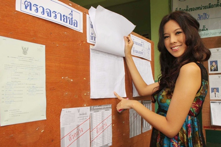 Miss Thailand Universe Chanyasorn Sakonchan poses for the paparazzi whilst voting in Plutaluang.