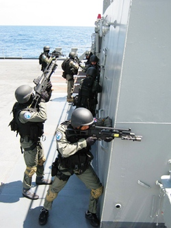 Thai special forces train to battle pirates in the Gulf of Aden off the coast of Somalia.