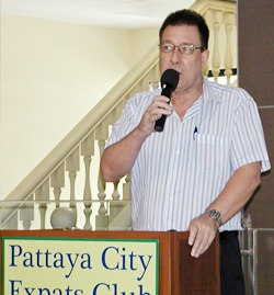 Well known Pattaya identity Peter Smith, of AA insurance, outlines new health insurance available to PCEC members.