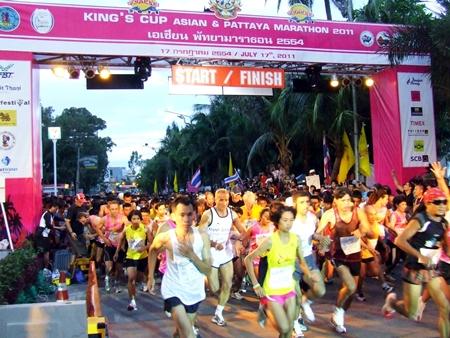 Runners underway at the start of the quarter-marathon.