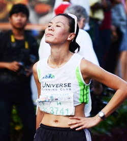 China's Wai Fong Poon finished second in age category in the women's half marathon.