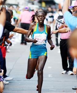 Kenya's Elizabeth Cheruiyot Chemweno win's the women's marathon event.