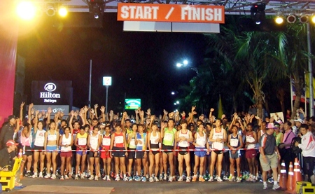 The athletes line up at the start of the 2011 Pattaya King's Cup Asian Marathon.