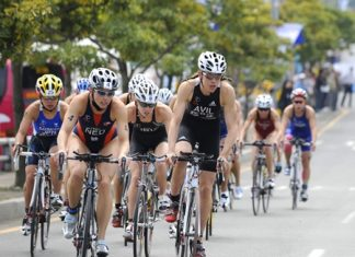 Athletes take part in the Bangkok Triathlon.