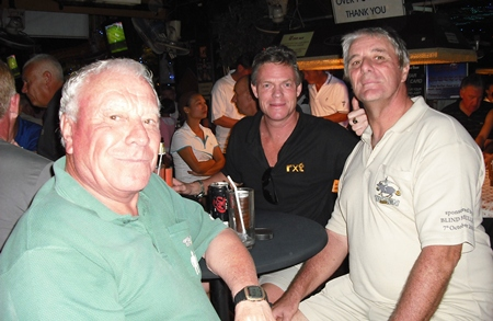 Peter Habgood (right) celebrates his win at Pattaya Country Club with pals Reg (left) and Heath (centre).