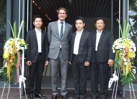 From left: Ekasit Ngampichet, secretary to chief of Pattaya City Office; Hubert Viriot, CEO; Rattanachai Sutidechanai, Pattaya's Tourism and Sports Committee Chairman and Montri Hemvichitr, VP Special Projects pose for a photo at the ribbon ceremony to officially open the new show suite.