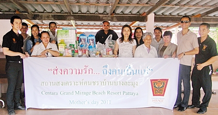 In honor of Her Majesty the Queen's birthday, which is considered to be Mother's Day, Montha Thongngam, Executive Housekeeper and Daranat Nuchaikaew, Director of Human Resources of the Centara Grand Mirage Beach Resort Pattaya along with employees of the hotel donated amenities and foodstuffs to the elderly residents of the Ban Banglamung Social Welfare Development Center.