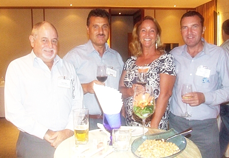 David Bell, AustCham director shares a laugh with Michael Diamente, managing director of Dana Spicer and his wife Rosanne from Women With A Mission, alongside Paul Wilkinson, operations manager for CEA projects.